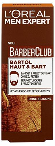 L\'Oreal Men Expert Barber Club Bartöl, Pflegt, bändig und kräftig den Bart ohne zu fetten, beruhigt Juckreiz und pflegt die Haut, 30 ml