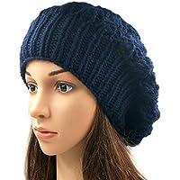 Magic Needles Winter Woolen Cap (Handmade Womens Slouchy Shroom Beanie (Navy Blue)