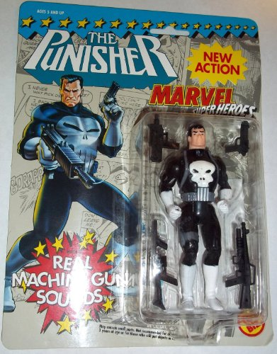 Marvel Super heroes PUNISHER new action with real machine gun sounds toy biz 1991