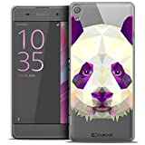 Caseink - Coque Housse Etui pour Sony Xperia XA [Crystal HD Polygon Series Animal - Rigide - Ultra Fin - Imprimé en France] - Panda