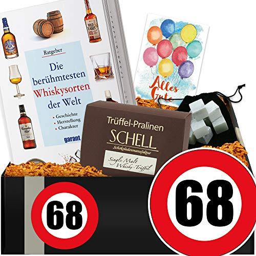 Zahl - 68 | Whiskey Paket mit Specksteinen | besondere Geschenke 68. Geburtstag