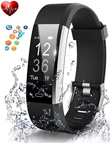 deputine ID115 Series 4 Smart Wristband Heart Rate Monitor with 0. 96 Inch OLED Display 4. 0 Waterproof Android 4 and iOS 7.2