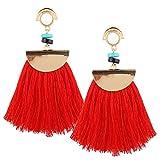 Borla flecos pendientes, Ularma Mujeres Vintage Boho Bohemio Pendientes Larga Borla Flecos Cuelgan Aretes Moda (Rojo)