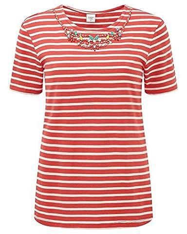 Cotton Traders Women's Ladies Jewel Tee Top T Shirt Short Sleeve Hip Length Yarn-dyed Stripe Warm Peach 16