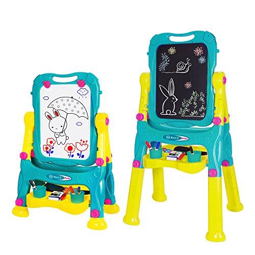 Nextx lavagna a doppia faccia per bambini – cavalletto da disegno cancellabile - altezza regolabile – giocattolo educativo e creativo - regalo perfetto di natale per bambini 3+ anni