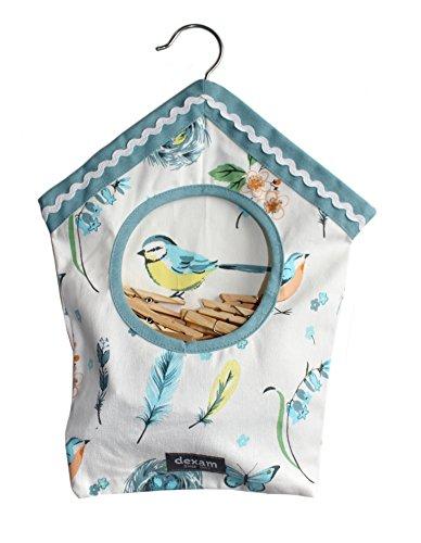 Style rétro vintage de qualité premium Coton en forme de maison d'oiseaux Sac à pinces à linge – Songbird vintage – avec corde à linge à suspendre Crochet – Comprend 40 en bois de qualité Pince à pinces à linge