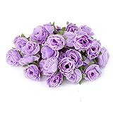 50pcs 3cm Kuenstliche Seide Rosen Bluetenkoepfe Hochzeitsdekor Hell Lila