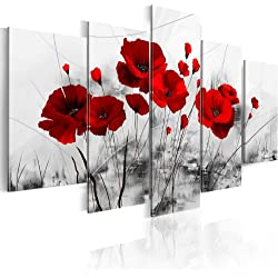 B&D XXL murando Impression sur Toile intissee 100x50 cm 5 Pieces Tableau Tableaux Decoration Murale Photo Image Artistique Photographie Graphique Fleurs 0107-5