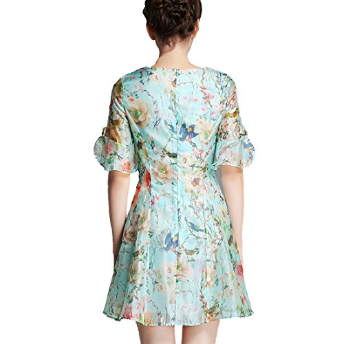 partiss Fashion Slim Fit Femme Fleur d'Impression robe en mousseline de soie à manches courtes Bleu