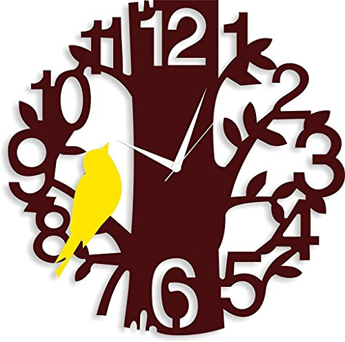 Archana wall wooden braun tree & yellow birds analog clock