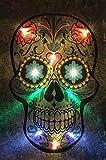 Samarkand-Lights LED-Bild mit Beleuchtung LED- Bilder Leinwandbild 65 x 45 cm Leuchtbild Totenkopf Tattoo Wandbild
