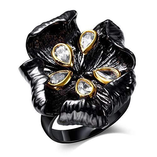 SSLL Ringe für Damen Schwarz Gold Lotus Weiß Cz Ring Frauen Fashion Party Hochzeit Schmuck, 7 (Cz Ringe Gold Frauen)