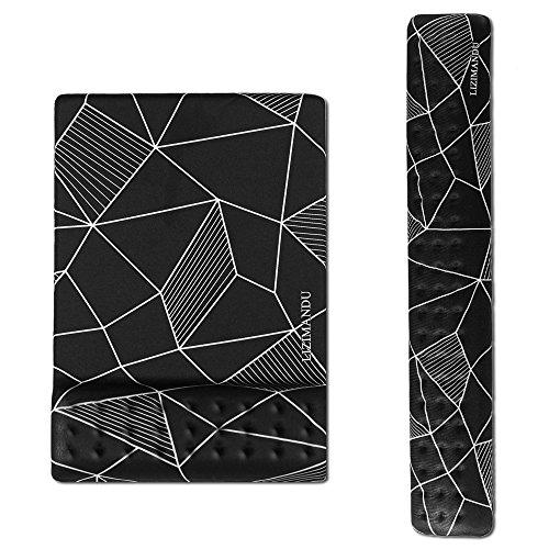 cheliz Tastatur Handgelenk Rest Pad und Maus Handgelenkauflage Maus Pad-langlebig und komfortabel & leicht für einfaches Tippen & Schmerzen relief-ergonomic Unterstützung Stoma Black Fragment - Tastatur-handgelenk-rest-pad