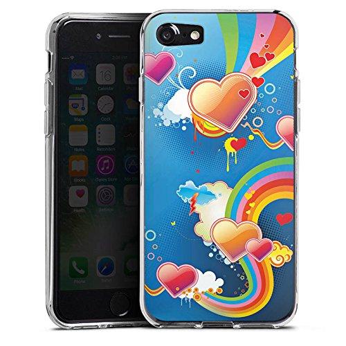 Apple iPhone X Silikon Hülle Case Schutzhülle Herz Love Regenbogen Bunt Silikon Case transparent