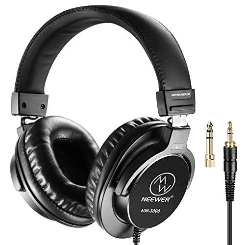 Neewer NW-3000 Studio Monitor Dynamische Drehbare Kopfhörer Set mit 45mm Loudhailer Treiber 3 Meter Kabel 6,5mm Stecker Adapter für PC Handy und TV Kopfhörer-set