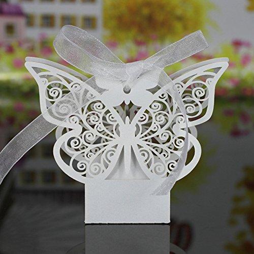 Set di 20 Scatoline per confetti, motivo a farfalla traforata, bomboniere per matrimonio, colore:Bianco lucido