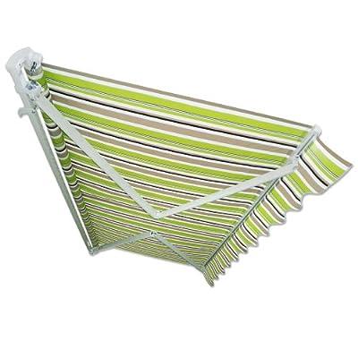 Gelenkarm-Markise 5 x 3 m grün-braun (Profilfarbe: Weiß) Sonnenschutz Alu Markise Schattenspender Sonnensegel von Jawoll - Gartenmöbel von Du und Dein Garten