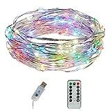 Pawaca Lichterkette, 5m Kupferdraht IP65 Wasserdicht mit USB-Anschluss Sternen Lichterketten mit Fernbedienung, 8 Modi 50 Leds Innen- Weihnachtsbeleuchtung LED Lichterkette (bunt)