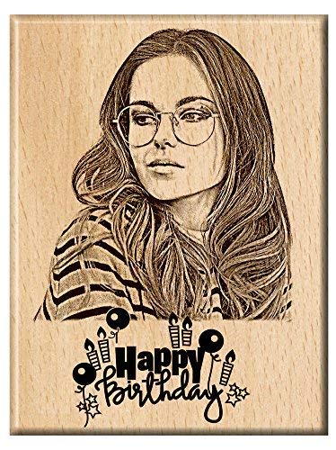 Engraveindia Wood Happy Birthday Unique Personalized Gift, 5x4inch (ENGRVISB01BDAY)