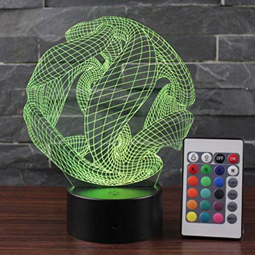 orangeww lámpara led 3d lámpara-abstracto esfera control remoto 7 color-negro base-decoración del...