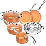 SHINEURI - Juego de 10 ollas de cocina de cobre de cerámica antiadherente con mango y tapa de acero inoxidable para inducción, gas, electricidad y estufas 10 unidades
