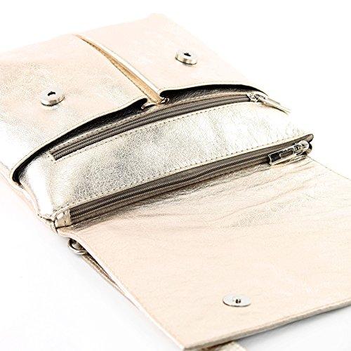 modamoda de - ital. Ledertasche Schultertasche Crossover Umhängetasche Nappaleder T63 Lightgold