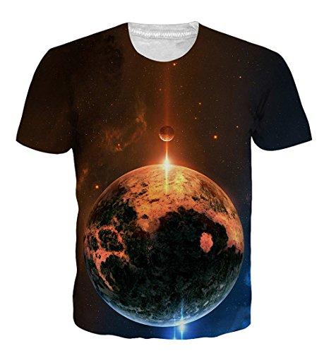 Goodstoworld T Shirt 3D Galaxy Katze Druck Herren Damen Printed Sommer Lustig Beiläufige Kurzarm Cooles T-Shirts Tee Top M -
