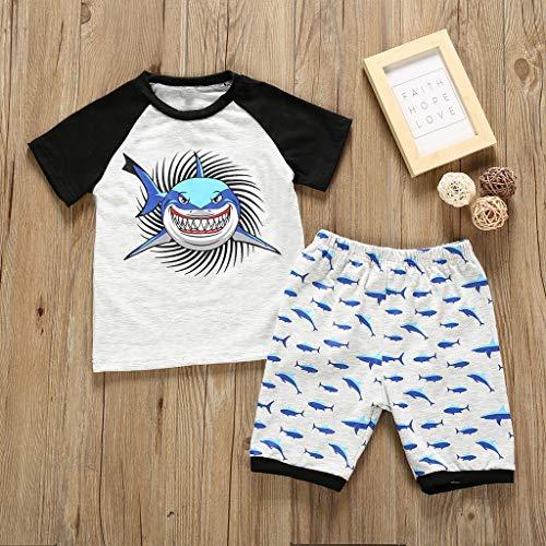 syeytx Baby-Outfit Zweiteiler SommerAnzug aus Baumwollmischung Infant Kind Baby Mädchen Cartoon Shark Tops + Shorts Pyjamas Nachtwäsche Outfits Set T-shirt Infant Bodysuit