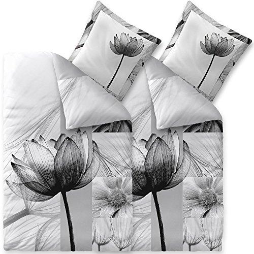 aqua-textil Trend Flora, Bettwäsche 135 x 200 4 teilig Bettbezug Baumwolle Blumen weiß grau schwarz