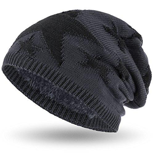 Compagno Sternen Wintermütze warm gefütterte Beanie sportlich-elegantes Flechtmuster mit weichem Fleece-Futter Mütze, Farbe:Grau