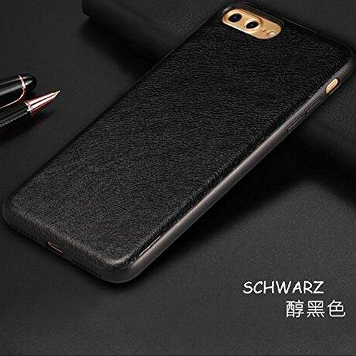 Iphone 7 Plus 5-in-1 Hülle,SUNANY [Hart-PC Rückenschale + GemütlichLeder-pu Schicht + Weich TPU Rahmen + Eingebaut Magnet + Gehärtetes schutzfolie] 360-Grad Schutzfolie für Apple7 plus,5.5zoll,Braun Schwarz