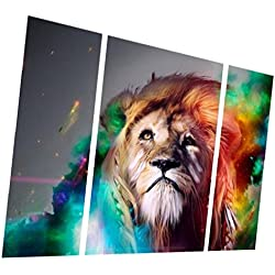 Gran Lienzo Moderna Cuadro Pintura de Pared Arte Estampado de Animales León Decoración Hogar