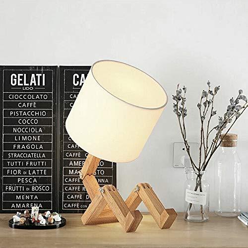 Robot Lampe de chevet, ELINKUME Simple Mode Creative Personnalité E27 Source de Lumière Bois Massif Lampes de Table D'étude Lampe Pour Enfants Chambre Bureau Salon Éclairage Décoratif