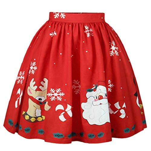 VJGOAL Damen Kleid, Gute Qualität Geschenke für Frauen Weihnachten Weihnachtsmann Schneeflocke gedruckt A-LineTutu Mini Cosplay Party Herbstliche Karneval Rock (Rot,M)