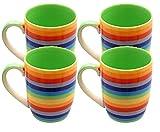 Windhorse Set von 4Regenbogen gestreift 10cm Keramik Tassen (Spannreifen–Hoch) (250ml)