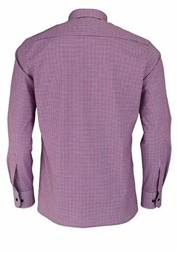 Eterna Long Sleeve Shirt Modern Fit Poplin Checked Rosa/Grigio