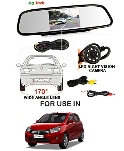 Volga Car Reversing kit- 4.3 Inch TFT LCD Rearview Mirror Monitor Backup Camera 4 Parking Sensors (SILVER) Alarm For Maruti Suzuki Celerio