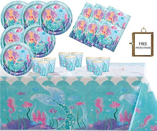 Magische Meerjungfrau Party Supplies Kinder Geburtstag Party Geschirr Kit für 16 Gäste unter dem Meer Partydekorationen mit kostenlosen Foto Rahmen