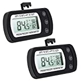 Oria Fridge Refrigerator Thermometer (2 Pack), Waterproof Freezer Temperature Gauge with Hook - Easy to Read LCD Display, Max/Min Function - Perfect for Home, Restaurants, Bars, Cafes,etc.-Black