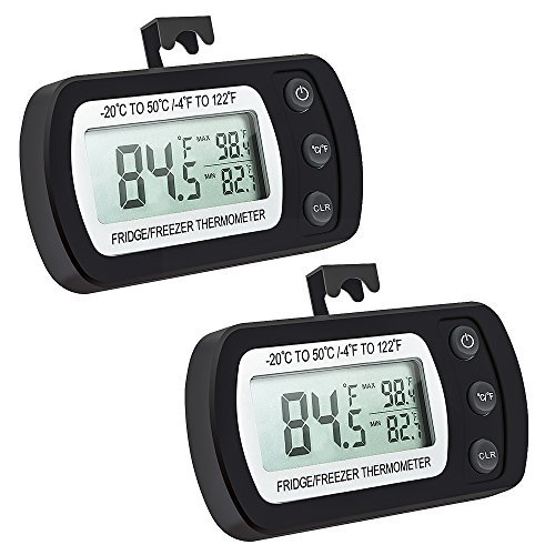 Oria Digital Kühlschrank Thermometer, 2Pack Wasserdicht Gefrierschrank Thermometer mit Haken Leicht zu LCD-Display lesen, Gefrierfach Thermometer Perfekt für Wohnhaus, Restaurants, Cafes, etc