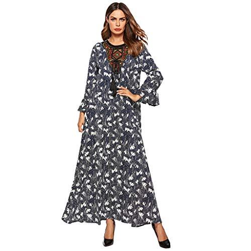 TEBAISE Muslimische Sommerkleid 2019 Neu Damen Blumen Drucken Prinzessin Kleider Frau Lange Ärmel Islamische Stickerei Muslim Kleidung Abaya Maxi Kleid Lange Hülse Robe Elegantes Ramadan Gebet Kostüm