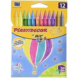 Bic Kids Plastidecor - Ceras de colores pasteladas, pack de 12