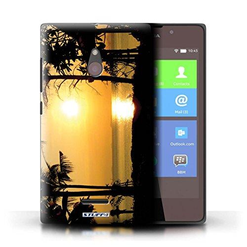Kobalt® Imprimé Etui / Coque pour Nokia XL / Orange et bleu conception / Série Coucher du Soleil arbres tropicaux