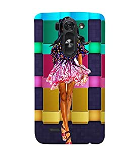 WESTERNIZED GIRL WITH A CHECK COLOURED BACK GROUND 3D Hard Polycarbonate Designer Back Case Cover for LG G3 Beat :: LG G3 Vigor :: LG G3s :: LG g3s Dual