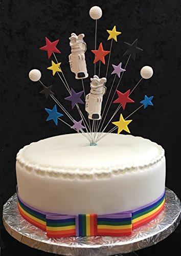 Golf Kuchen Topper passend für 20cm Kuchen, Plus 1m x 25mm Rainbow Ripsband mit Schleife