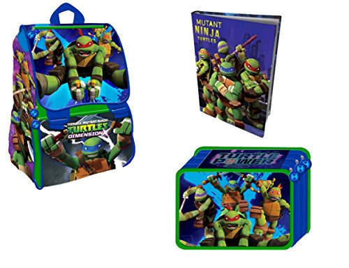 Schulrucksack Erweiterbar Medium halber TMNT Ninja Turtles + Tagebuch + Astuccio 3ZIP komplett Farben