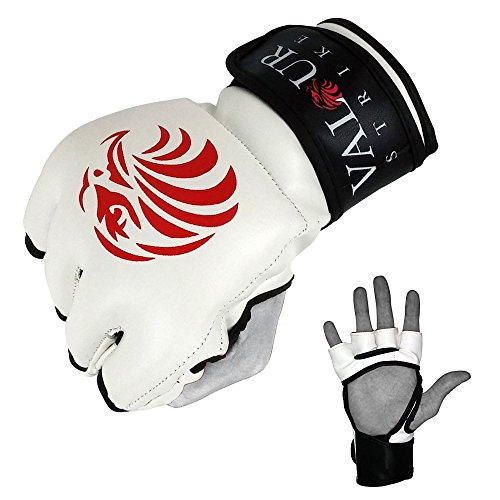 """Pro MMA Handschuhe-#x2605, Sparring-Handschuhe für Grappling Training """"Muay Thai UFC Fighting Combat MMA Mitten #x2605, für Boxen, Kickboxen, Valour ® Strike Weiß / Rot / Schwarz M"""