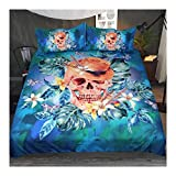 CSYPYLE Floral Cool Skull Mit Hut Bettbezug Blau Grün Bettwäsche 3-Teilig Königin Aquarell Heimtextilien, Doppel