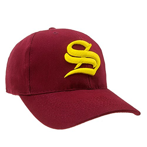 4sold Unisex Damen Herren Baseball Cap Caps Gothic Letter S Hüte Mützen Snap Back Hat Hats (S dark red yellow)