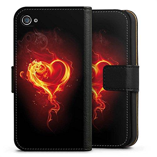 Apple iPhone X Silikon Hülle Case Schutzhülle Liebe Flammen Herz Brennendes Herz Sideflip Tasche schwarz